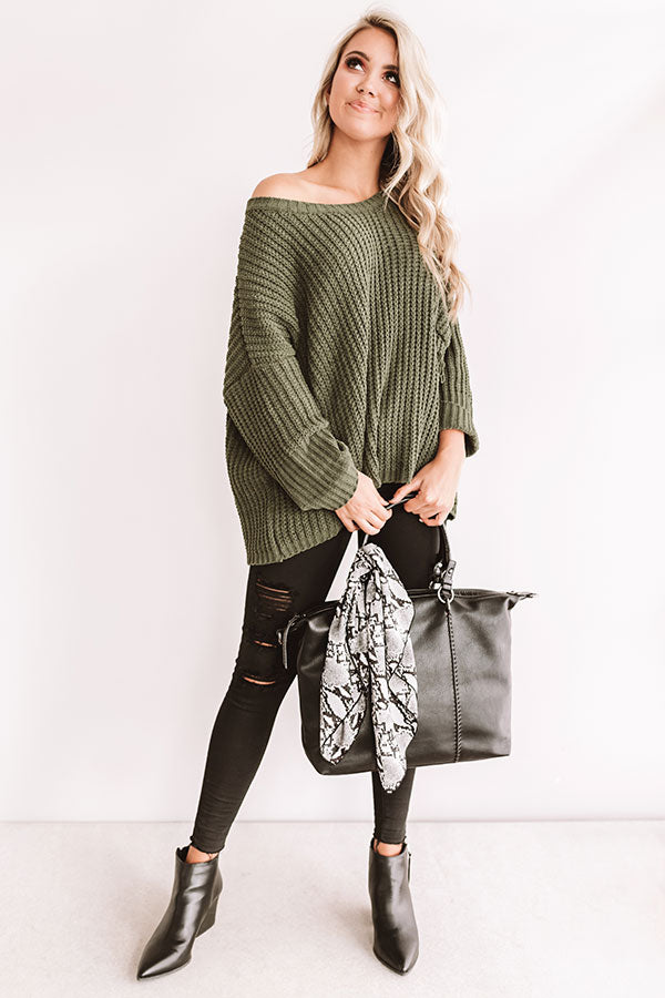 Autumn Bliss Knit Sweater In Olive