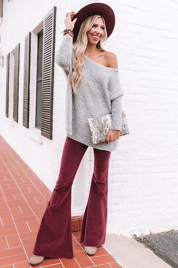 Cocoa And Chill Shift Sweater In Grey