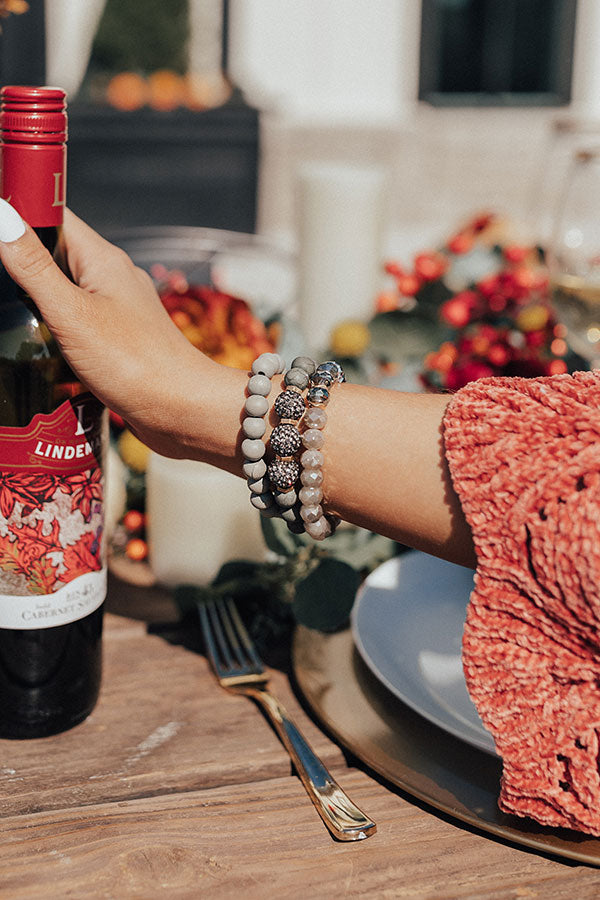 Sipping Vino Bracelet Set In Grey