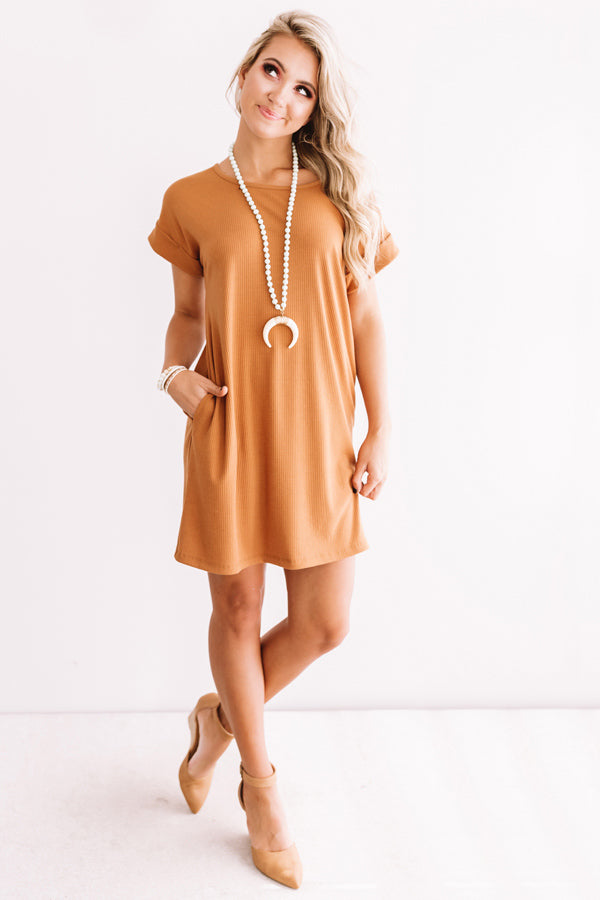 Chic Sway Shift Dress In Camel