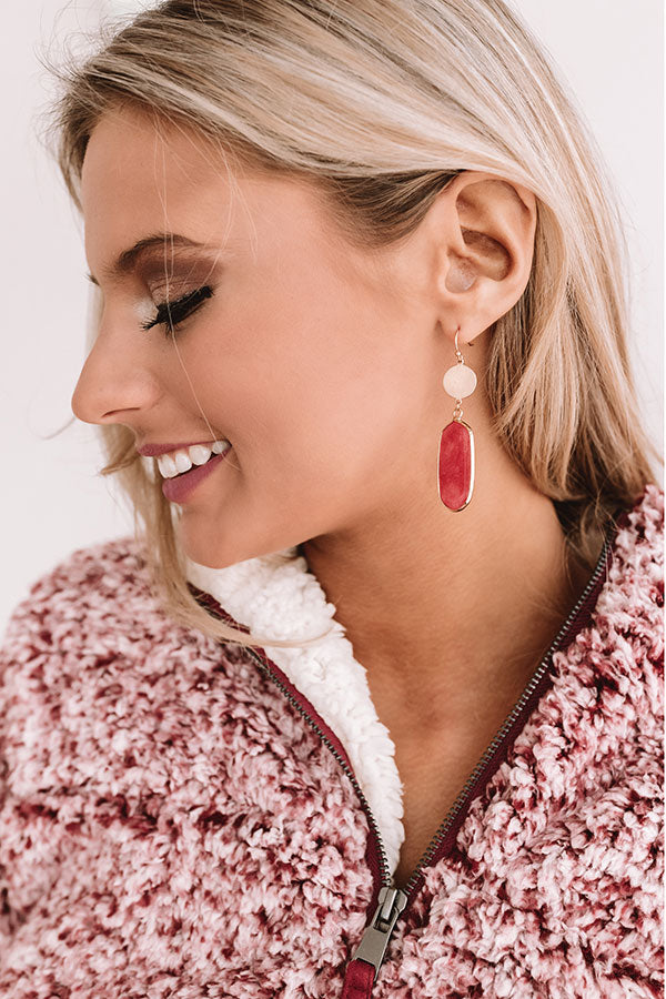 It Factor Earrings In Crimson