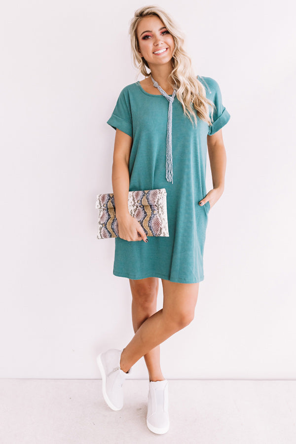 Chic Sway Shift Dress In Teal
