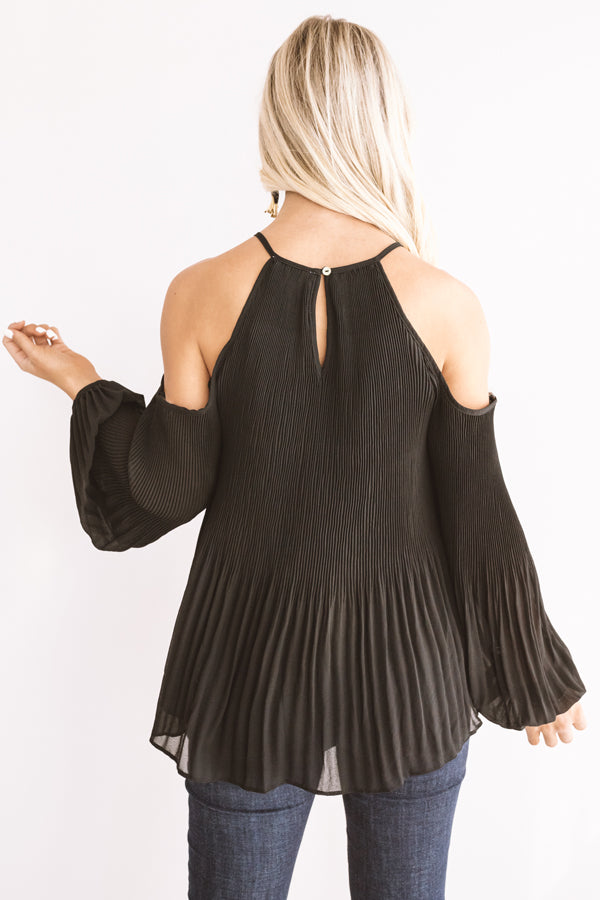 Gather Together Pleated Top In Black