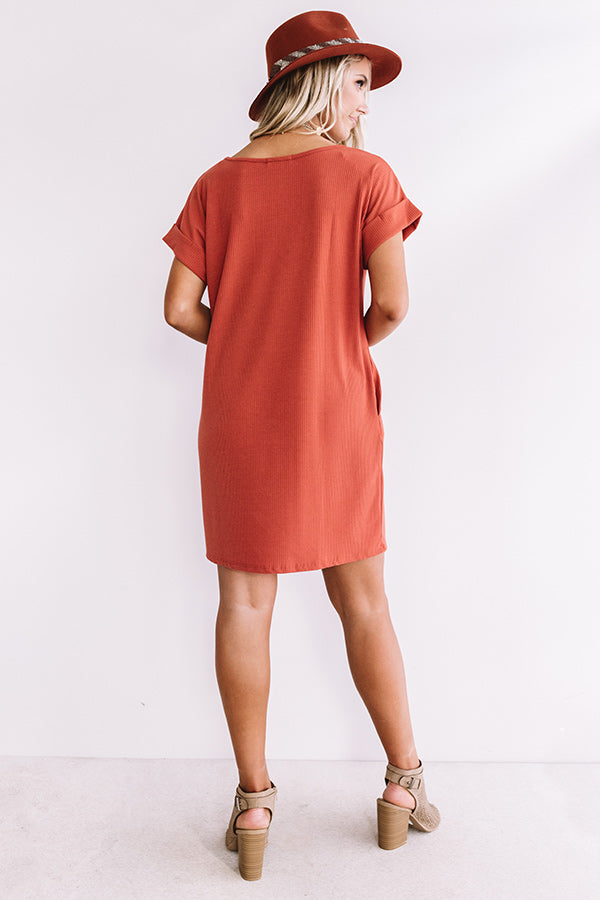 Chic Sway Shift Dress In Rust