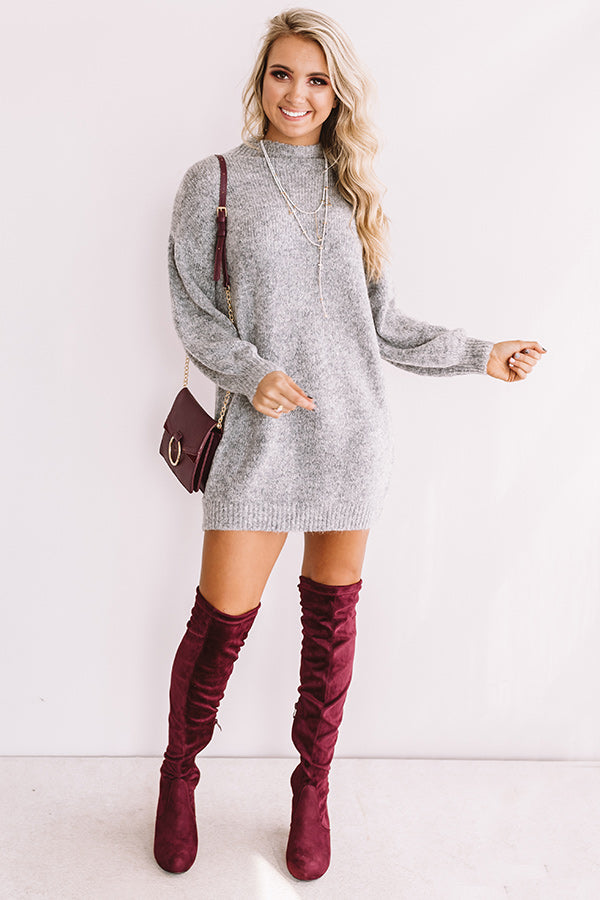 Cheers For Cozy Sweater Dress In Dark Grey