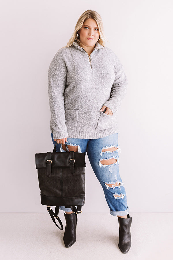 Pumpkin Spicy Knit Pullover In Grey