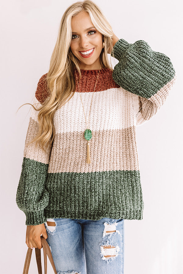 Cider And Cozy Chenille Sweater In Olive