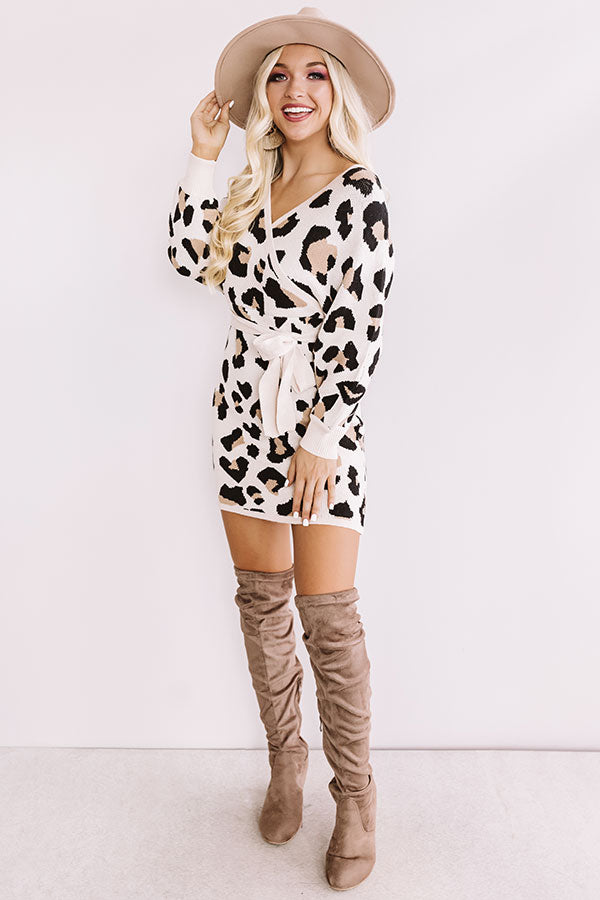 Spotted In Manhattan Leopard Sweater Dress In Cream