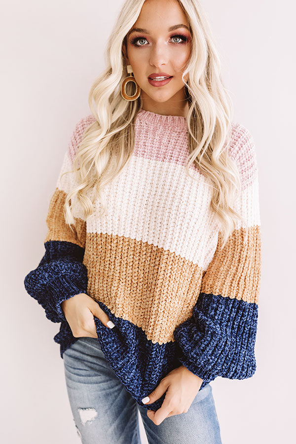 Cider And Cozy Chenille Sweater In Navy