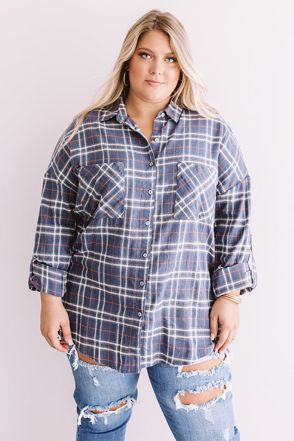 California Campfire Plaid Top In Slate