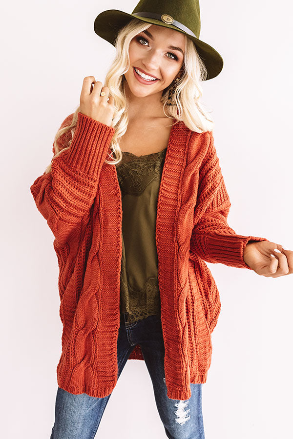 Autumn Debut Cable Knit Cardigan