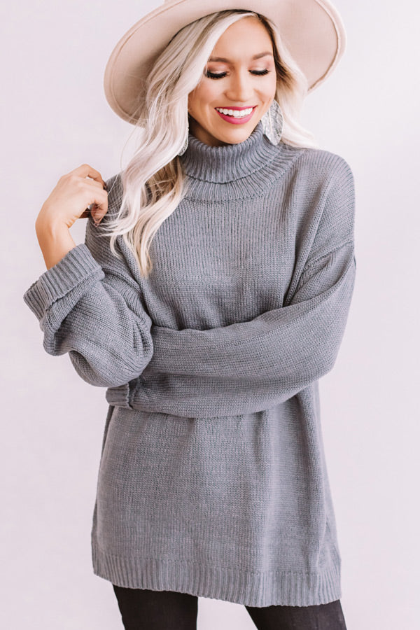 Fallin' For Autumn Knit Sweater In Grey