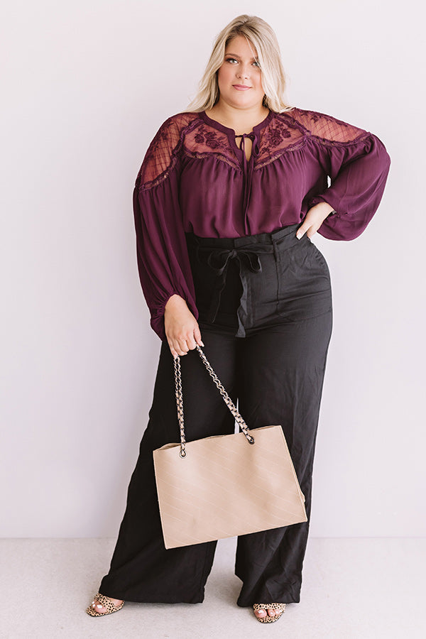 Seriously Smitten Lace Shift Top In Windsor Wine
