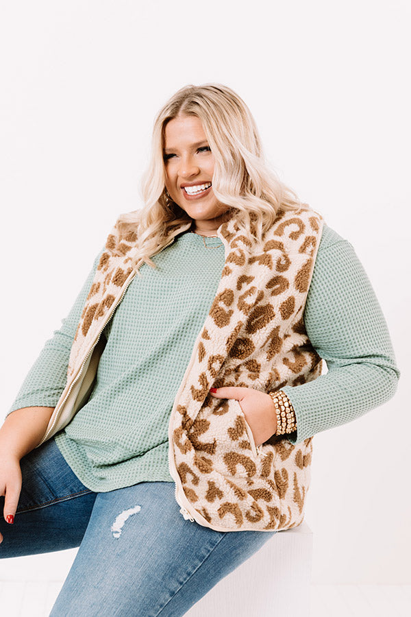 Bunny Slope Leopard Sherpa Vest In Cream