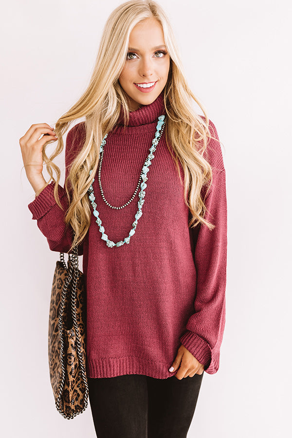 Fallin' For Autumn Knit Sweater In Wine