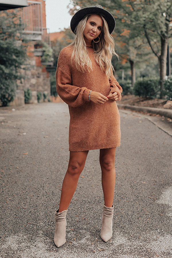 Cheers For Cozy Sweater Dress In Rust