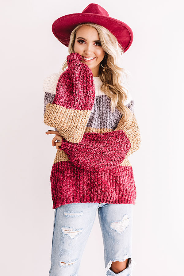 Cider And Cozy Chenille Sweater In Berry