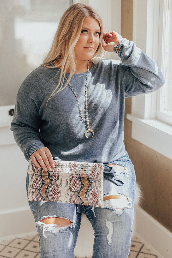 Champagne Calling Shift Sweater In Airy Blue