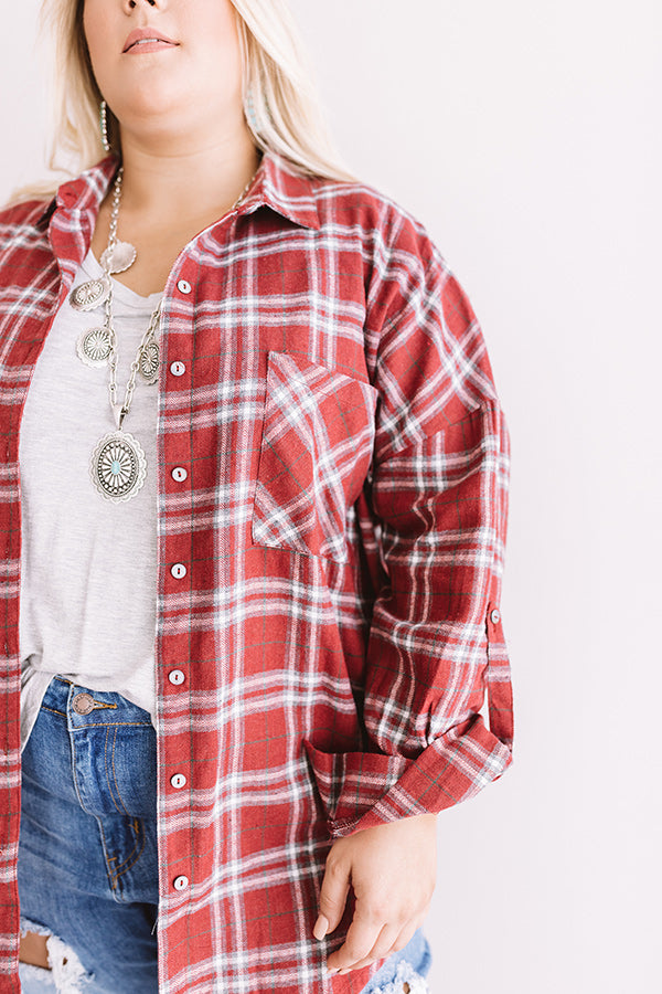 California Campfire Plaid Top In Wine