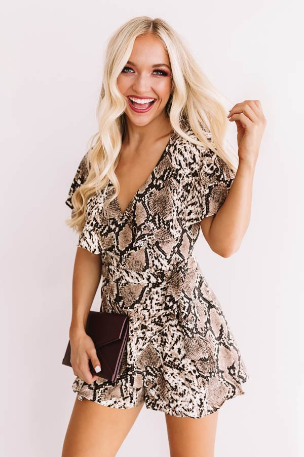 All The Goals Snake Print Wrap Romper