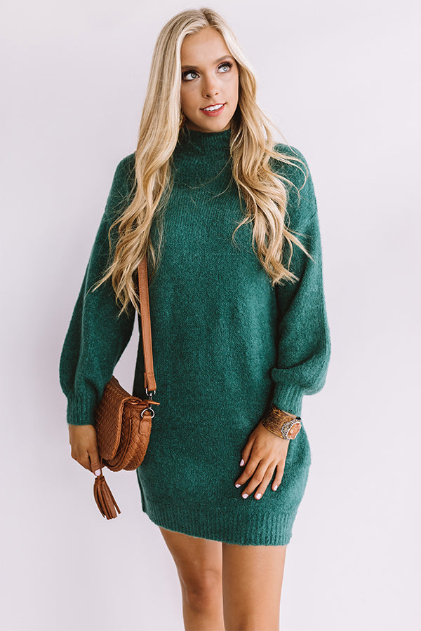 Cheers For Cozy Sweater Dress In Hunter Green