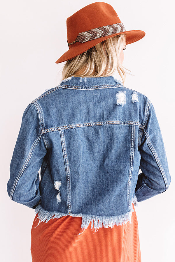 The Betsy Distressed Denim Crop Jacket
