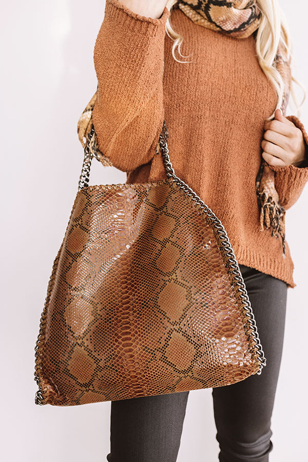 Hearts Run Wild Snake Print Tote In Brown