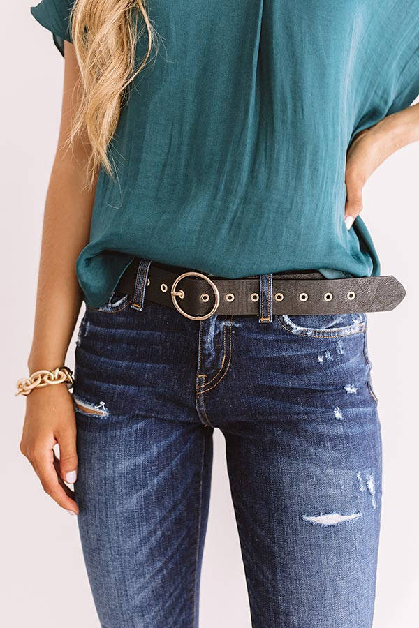Close Up Ready Faux Leather Belt In Black