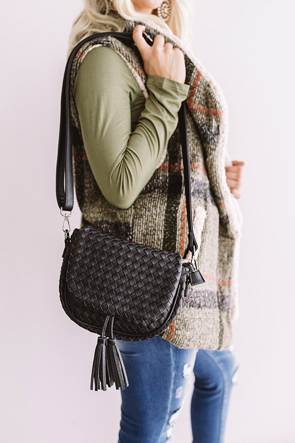 Oh So Gorgeous Woven Crossbody In Black