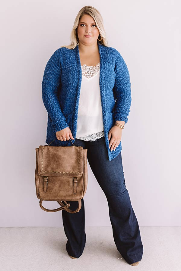 Jetsetter Popcorn Knit Cardigan In Autumn Sky