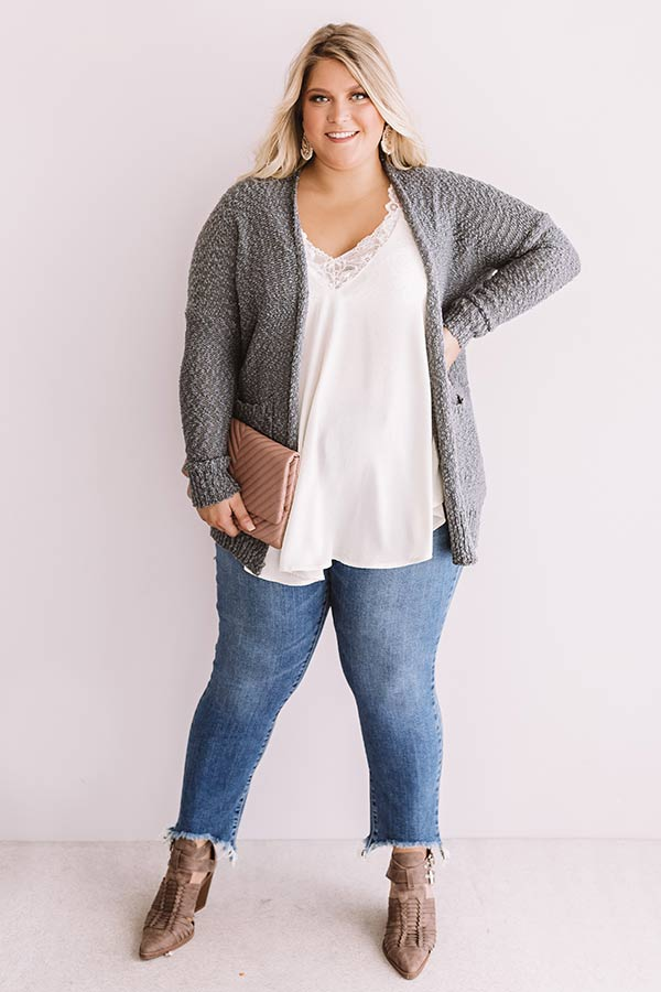 Jetsetter Popcorn Knit Cardigan In Dark Grey