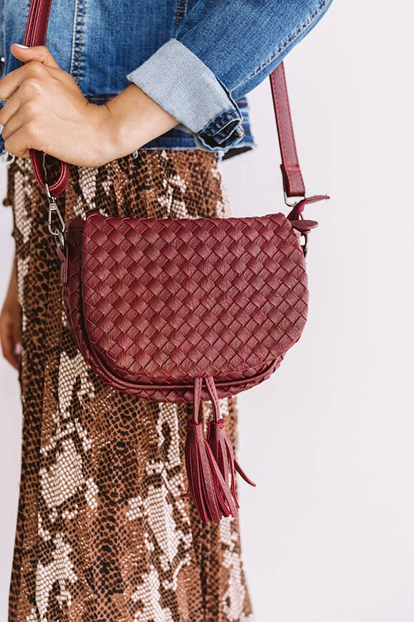 Oh So Gorgeous Woven Crossbody In Wine