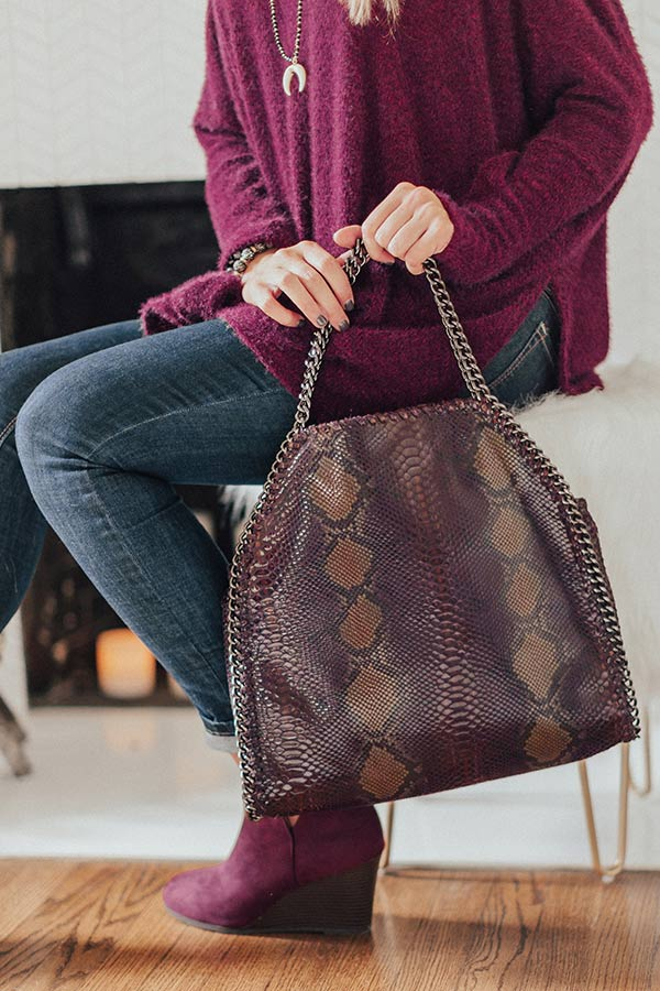 Hearts Run Wild Snake Print Tote In Purple