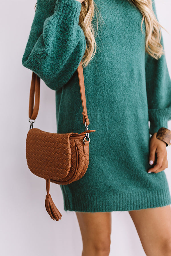 Oh So Gorgeous Woven Crossbody In Brown