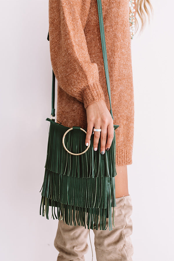 Free And Fearless Fringe Crossbody In Hunter Green