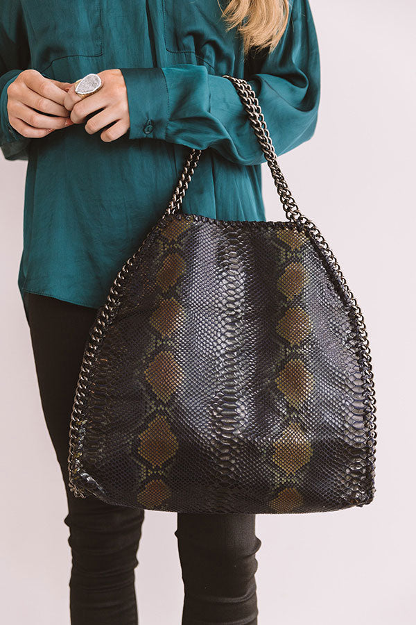 Hearts Run Wild Snake Print Tote In Navy