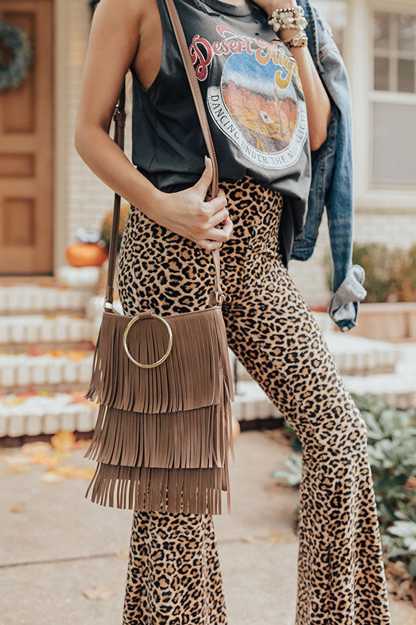 Free And Fearless Fringe Crossbody In Mocha