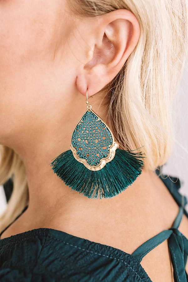 The Charmed Life Earrings In Hunter Green