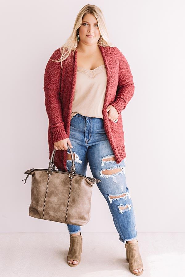 Jetsetter Popcorn Knit Cardigan In Rose
