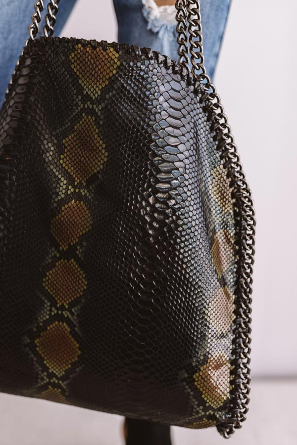 Hearts Run Wild Snake Print Tote In Black