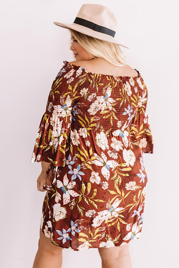 Garden Party Floral Shift Dress In Rust