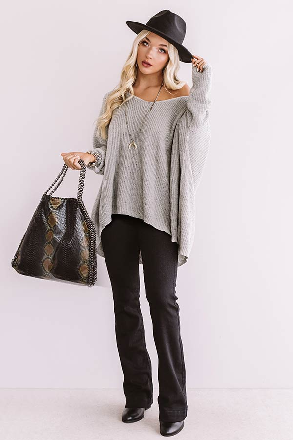 Latte Crush Knit Sweater in Grey