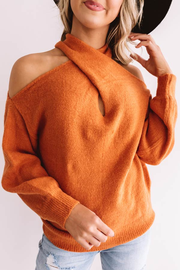 Sweet Embrace Cold Shoulder Sweater In Rust