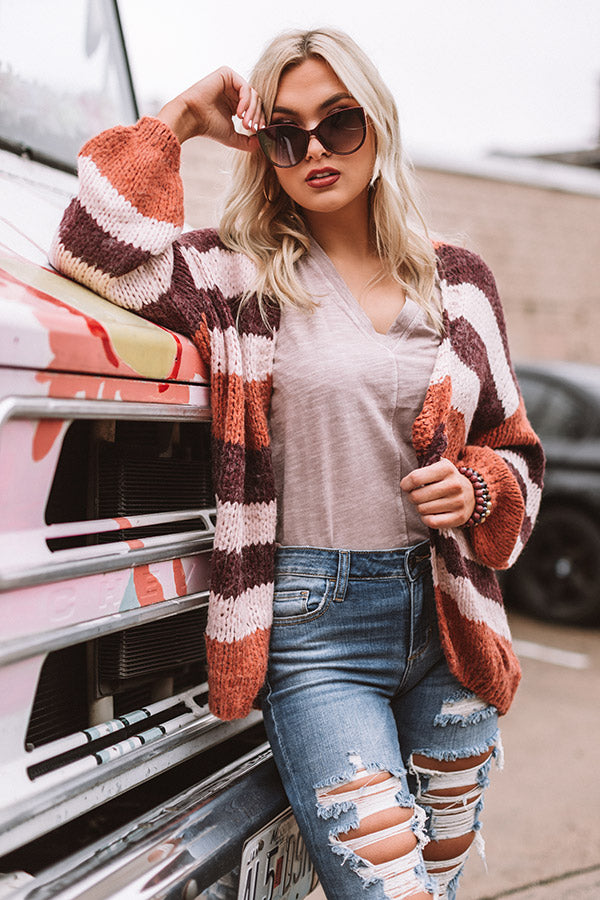 Stuck On You Knit Cardigan in Rust