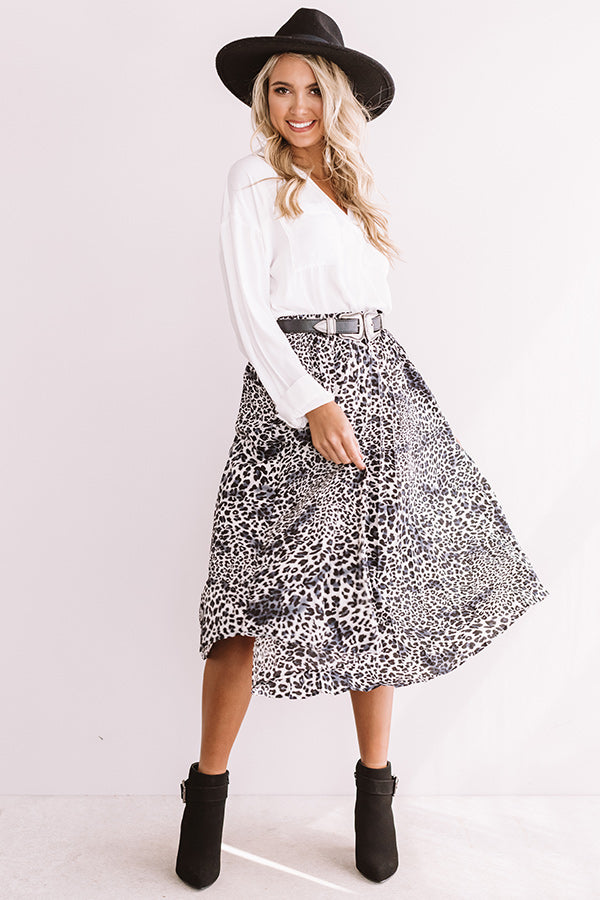 Meet Me In Manhattan Leopard Skirt In Grey