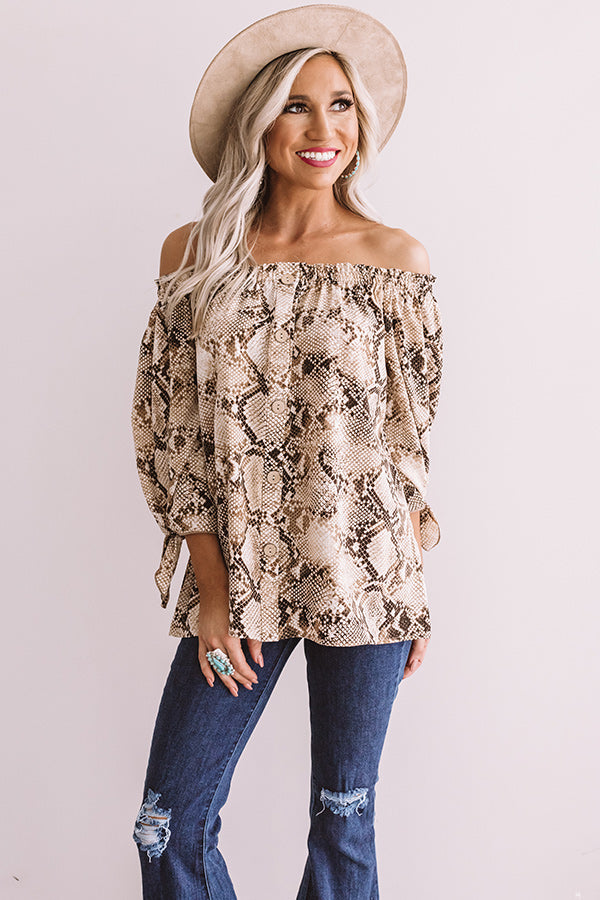All Eyes On You Snake Print Shift Top