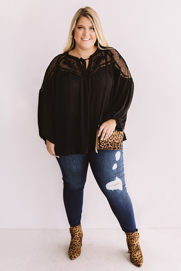 Seriously Smitten Lace Shift Top In Black