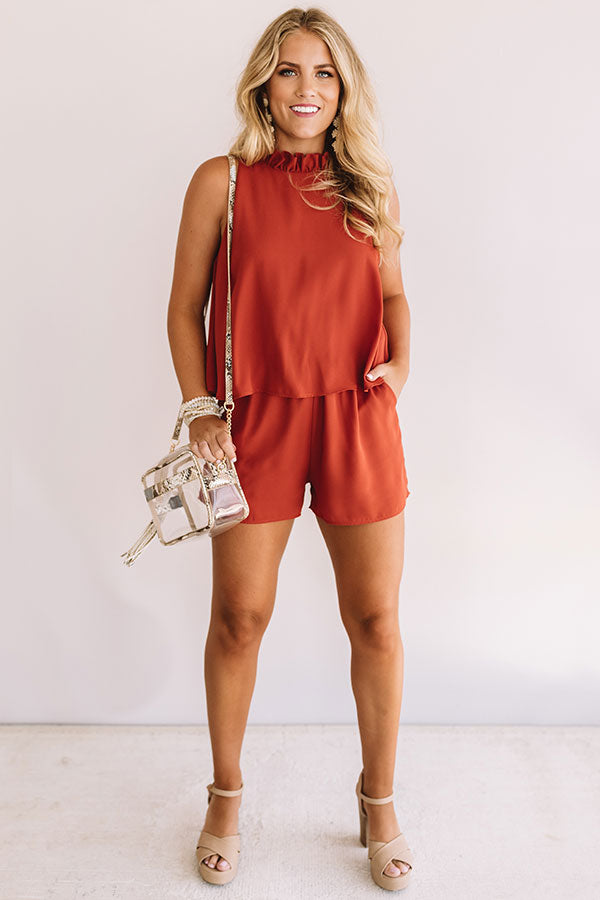 Tailgates and Touchdowns Romper in Rust