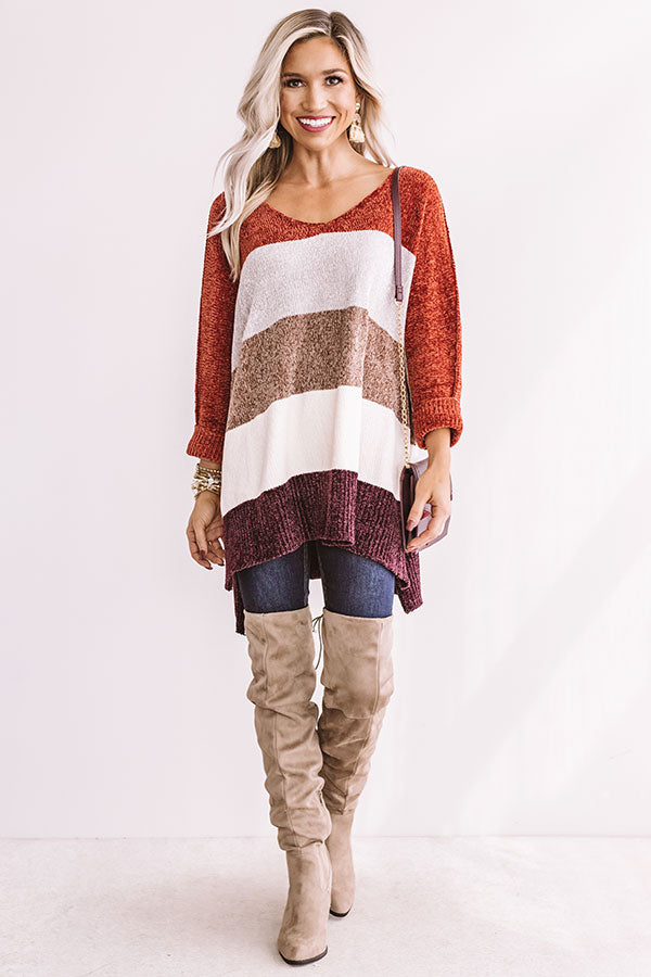 North Shore Chenille Color Block Sweater In Rust