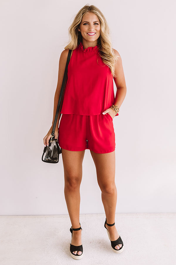 Tailgates and Touchdowns Romper in Red